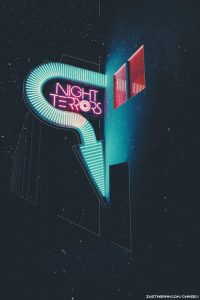 Night Terrors neon sign captures the vaporwave aesthetic