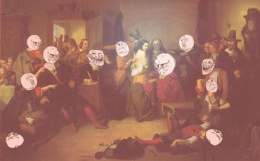 Examination of a witch hunt by matteson, with the faces replaced with rage/troll faces