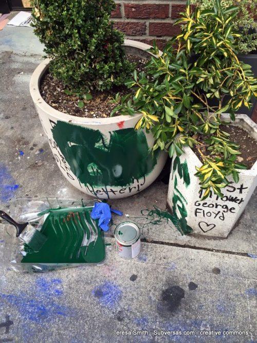 Even garden pots are in memorium of George Floyd - CHAZ