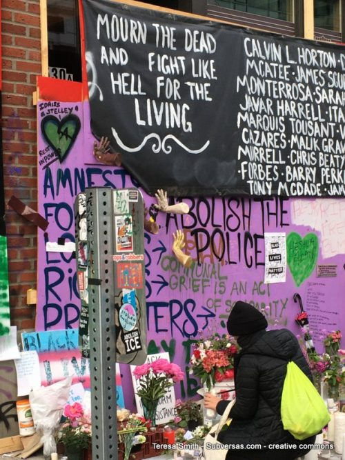 black lives matters memorial outside reclaimed police station